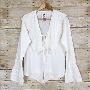 Johnny Was Cream Tie Front Blouse